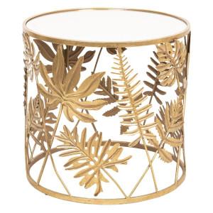 Masuta de cafea din fier auriu cu blat din sticla Ø 50 cm x 48 h