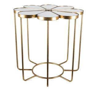 Masuta de cafea din fier auriu cu blat din sticla Ø 62 cm x 61 h