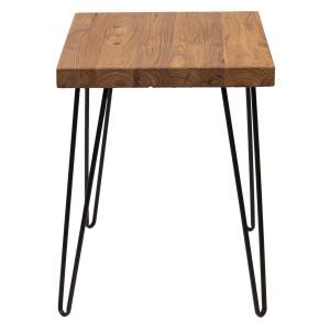Masuta de cafea cu picioare din fier negru si blat lemn maro 40 cm x 40 cm x 51 h