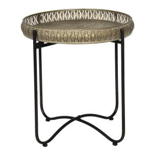 Masuta de cafea din fier negru si cupru Ø 49 cm x 52 h