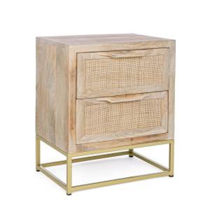 Noptiera 2 sertare din lemn natur si picioare fier auriu Exor 45 cm x 35 cm x 55 h