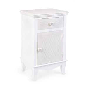 Noptiera 1 sertar 1 usa lemn alb Charlene 40 cm x 32 cm x 69.5 h