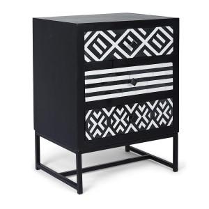 Noptiera 3 sertare din lemn negru alb cu cadru fier Janesh 45 cm x 35 cm x 60 h