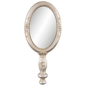 Oglinda de mana polirasina argintiu antichizat Roses 12 cm x 3 cm x 27 h