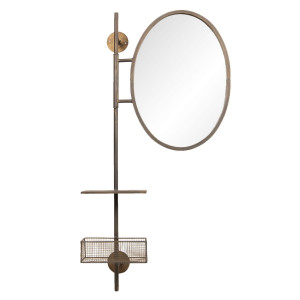 Oglinda de perete cu cos si rama metal negru cu patina aramie 55 cm x 20 cm x 105 h