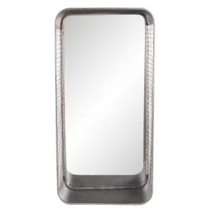 Oglinda de perete cu rama din fier gri 28 cm x 5 cm x 57 h