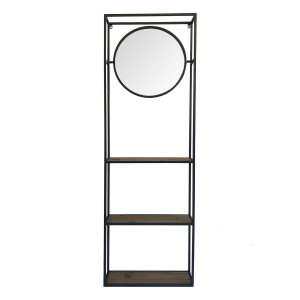 Raft de perete cu 3 polite si oglinda cu rama din fier negru 53 cm x 15 cm x 165 h