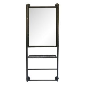 Oglinda de perete cu polita din fier negru 48 cm x 10 cm x 124 h