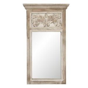 Oglinda de perete cu rama lemn natur antichizat 63 cm x 6 cm x 113 cm