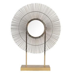 Oglinda de masa metal auriu aramiu 48 cm x 12 cm x 64 h