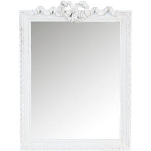 Oglinda de perete cu rama lemn alb antichizat 36 cm x 49 cm