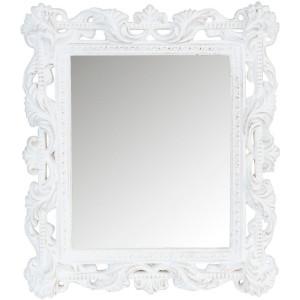 Oglinda de perete cu rama lemn alb patinat 20 cm x 30 cm