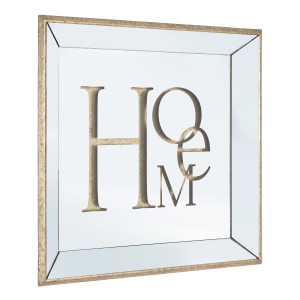 Oglinda decorativa perete cu rama lemn aurie model Home 50 cm x 50h