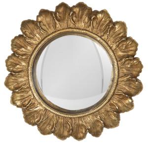 Oglinda decorativa perete polirasina auriu vintage Ø 18 cm x 2 cm