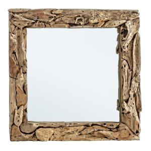 Oglinda decorativa perete cu rama lemn natur Raven 90 cm x 8 cm x 90 cm