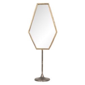 Oglinda de masa cu picior metal auriu vintage 16 cm x 9 cm x 45 cm
