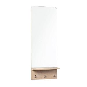 Oglinda de perete cu polita din lemn natur si 3 agatatori 35 cm x 11.5 cm x 95 h