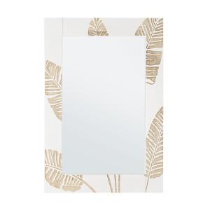 Oglinda decorativa perete cu rama lemn alb crem 54 cm x 2 cm x 76 h