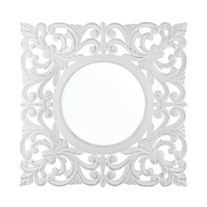 Oglinda decorativa perete cu rama lemn alb vintage Dalila 80 cm x 1.8 cm x 80 h