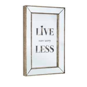 Oglinda de perete aurie cu mesaj motivationalLive Glace