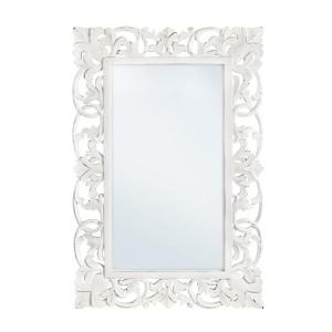 Oglinda decorativa perete cu rama lemn alb vintage Dalila 60 cm x 90 h