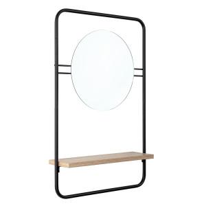 Oglinda perete cu rama metal si polita lemn 41 cm x 12 cm x 64 h