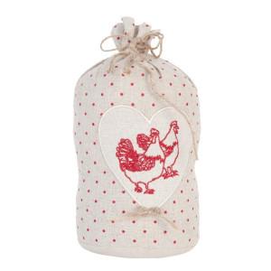 Opritor de usa textil bej rosu Chicken Ø 13 cm x 25 h