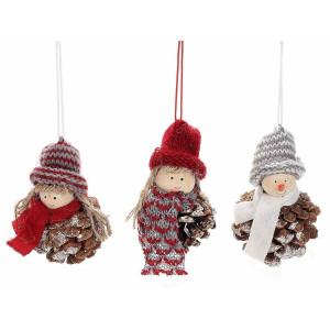 Set 3 ornamente brad Inger textil si con brad Ø 6x9 cm