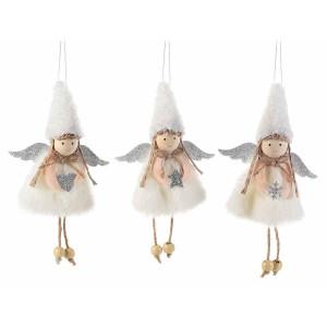 Set 3 ornamente brad din textil alb argintiu model Ingeri 10x18 cm