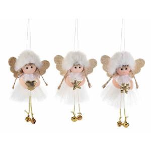 Set 3 ornamente brad din textil alb auriu model Ingeri 9x16 cm