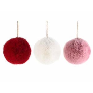 Set 3 ornamente brad din textil pufos alb rosu roz Ø 10 cm