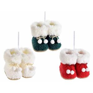 Set 3 ornamente brad din textil alb model Ghetute 10x8x7 cm