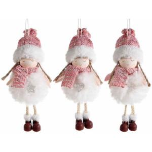 Set 3 ornamente brad din textil alb roz model Ingeri Ø 7x18 cm