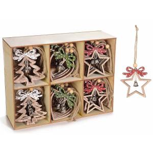 Set 36 ornamente brad din lemn natur rosu verde 7x8 cm