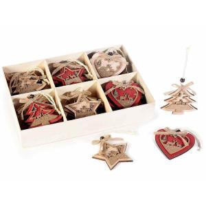 Set 36 ornamente brad din lemn natur rosu auriu 8x8 cm