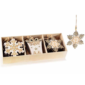 Set 24 ornamente brad din lemn natur auriu 11x12 cm