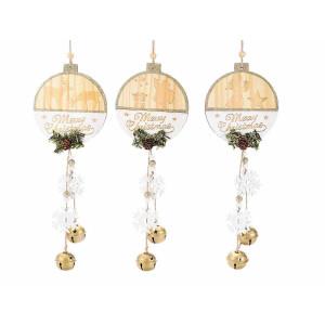 Set 3 ornamente brad din lemn natur alb 11x13 cm
