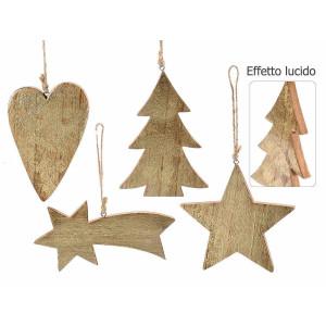 Set 4 ornamente brad din lemn natur auriu 10x15 cm