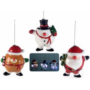 Set 3 ornamente brad din ceramica cu led 9x6x11 cm