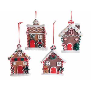Set 4 ornamente brad din polirasina model Casute 9x13 cm