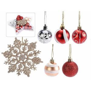 Set 24 ornamente brad din plastic multicolor 10x11 cm