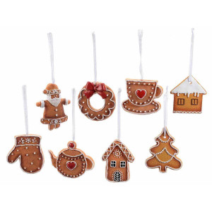 Set 8 ornamente de brad din polirasina model Turta Dulce 6x8 cm