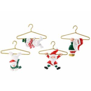 Set 4 ornamente brad din polirasina 12x13 cm
