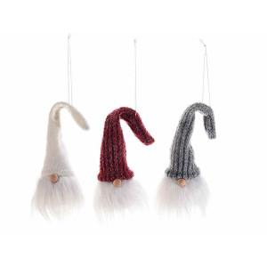 Set 3 ornamente brad din textil model Mos Craciun Ø 4x16 cm