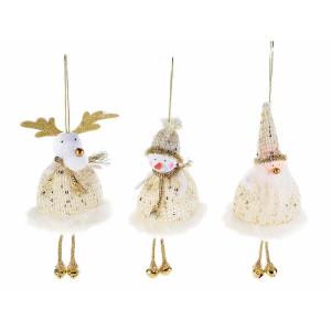 Set 3 ornamente brad din textil alb auriu 9x12/17 cm