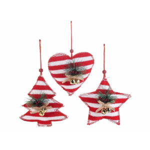 Set 3 ornamente brad din textil alb rosu 13x13 cm