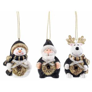 Set 3 ornamente brad din ceramica alba neagra aurie 6x7x9 cm