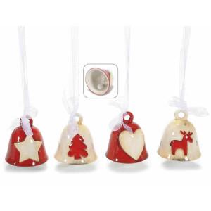 Set 4 clopotei din ceramica rosie crem Ø5x6 cm