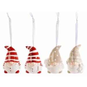 Set 4 ornamente brad din ceramica alba rosie crem model Mos Craciun 6x5x7 cm
