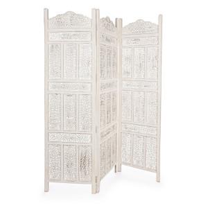 Paravan decorativ lemn alb antichizat Kartik 150 cm x 2.1 cm x 180 h